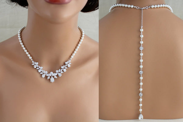 Pearl Bridal necklace with backdrop - Treasures by Agnes