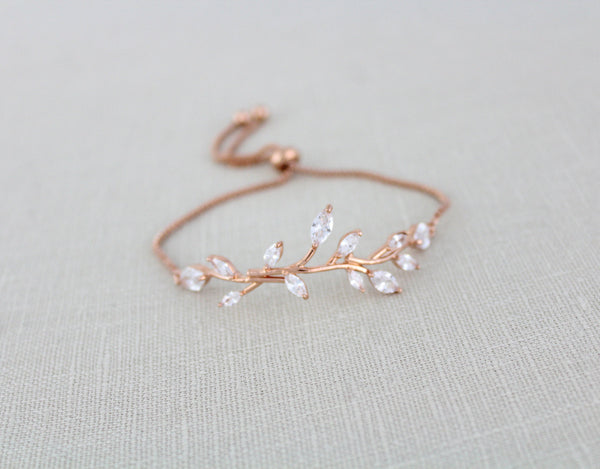 Delicate Rose gold Adjustable CZ Bridal bracelet - APRILLE