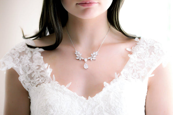 Crystal drop CZ bridal backdrop necklace - SABRINA - Treasures by Agnes