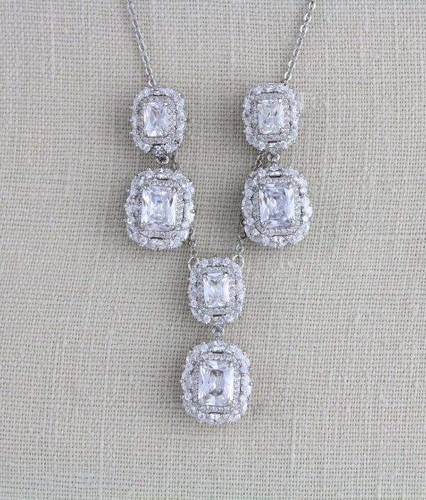 Silver CZ emerald cut pendant necklace - MAYA - Treasures by Agnes