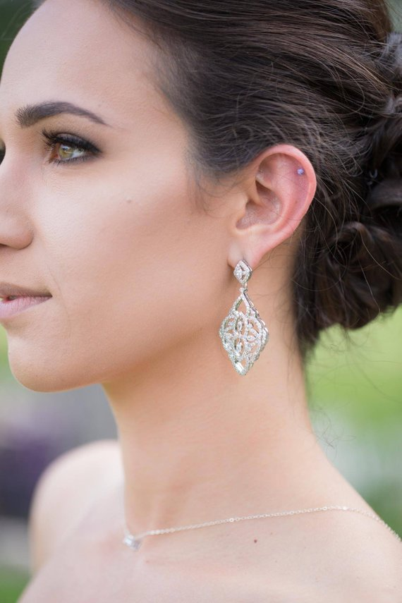 Cubic zirconia Art deco Bridal earrings - EMILY - Treasures by Agnes
