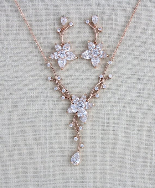 Delicate Rose gold bridal backdrop necklace and earrings - Treasures by Agnes