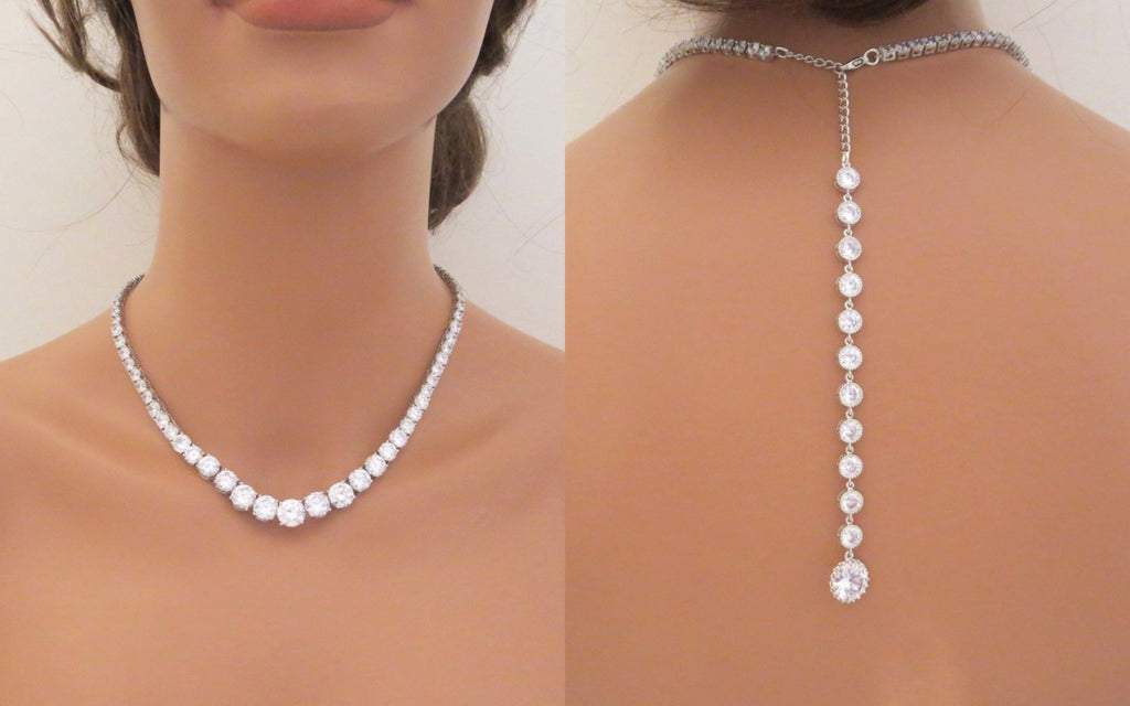 Bridal Backdrop necklace with CZ stones - Treasures by Agnes