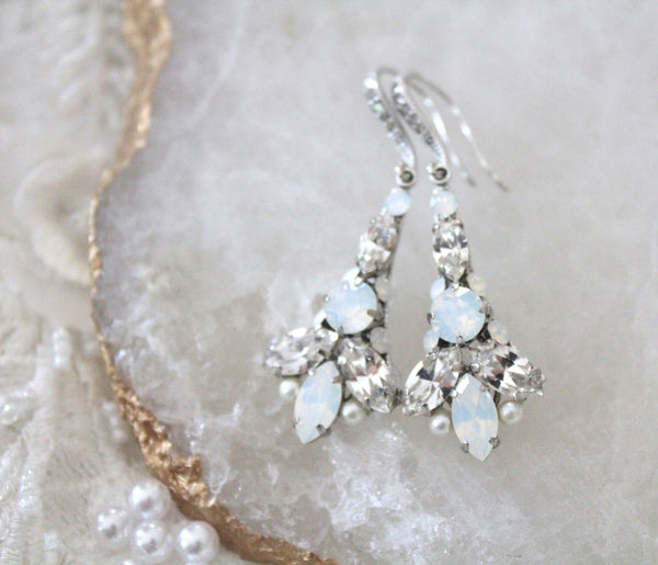 Swarovski Crystal Bridal earrings with white opal accents - Treasures by Agnes