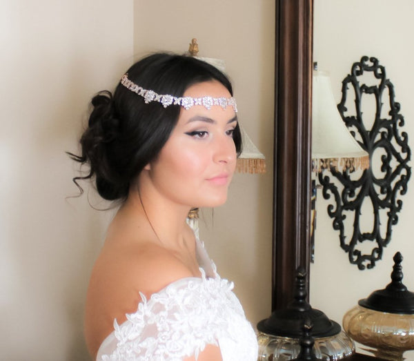 Crystal bridal forehead band headpiece - HARPER - Treasures by Agnes