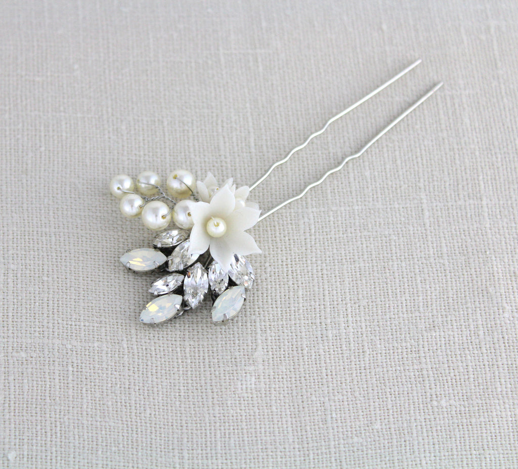 Swarovski crystal and white opal bridal hair pin - ARIEL - Treasures by Agnes