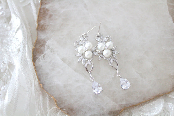 Long Rose gold Pearl drop Bridal earrings MIA - Treasures by Agnes