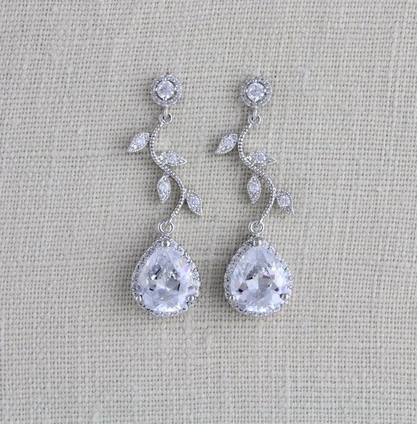 Rose gold crystal drop leaf bridal earrings - Treasures by Agnes