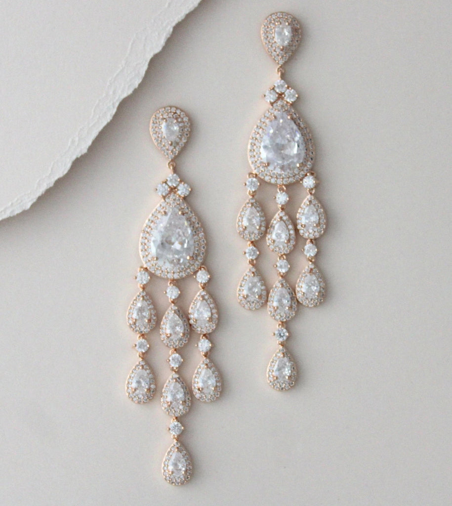 Long chandelier style statement earrings with crystal drops - Farah - Treasures by Agnes