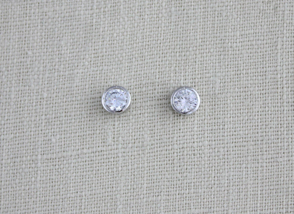 Rose gold 6mm CZ stud earrings - Treasures by Agnes