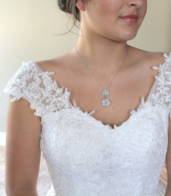 Dainty antique silver Bridal necklace with Swarovski crystals - Treasures by Agnes