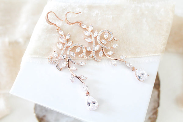 Rose gold cubic zirconia chandelier earrings - JENNA - Treasures by Agnes