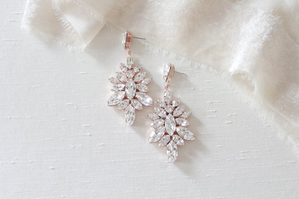 Rose gold Swarovski crystal Statement earrings for bride - IRIS
