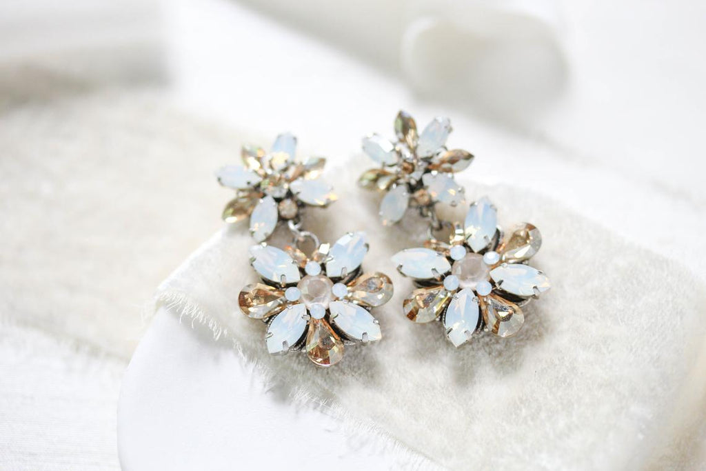 Vintage style Swarovski crystal Bridal earrings - BERTA