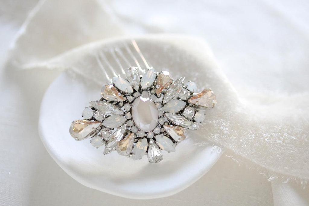 Elegant Swarovski crystal Bridal hair piece - PIPER