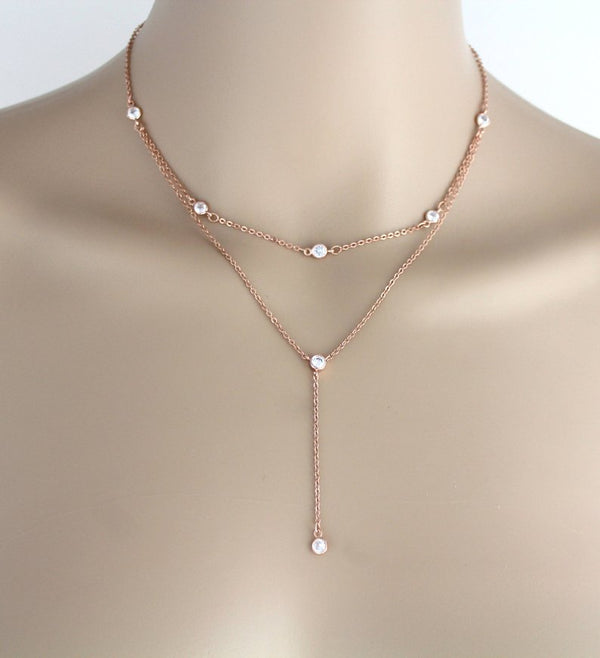 Delicate Rose gold Bridal back necklace - KAYLA - Treasures by Agnes