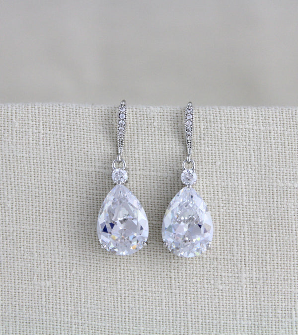 Rose gold Cubic Zirconia drop bridal earrings - Treasures by Agnes