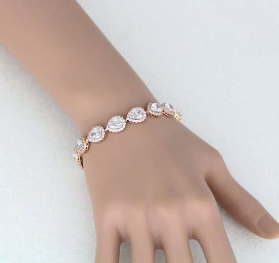 Rose gold teardrop cubic zirconia Bridal bracelet - Treasures by Agnes