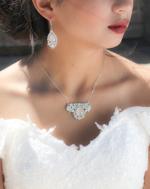 Swarovski Ivory cream Bridal earrings with opal accents - BRIANNA - Treasures by Agnes