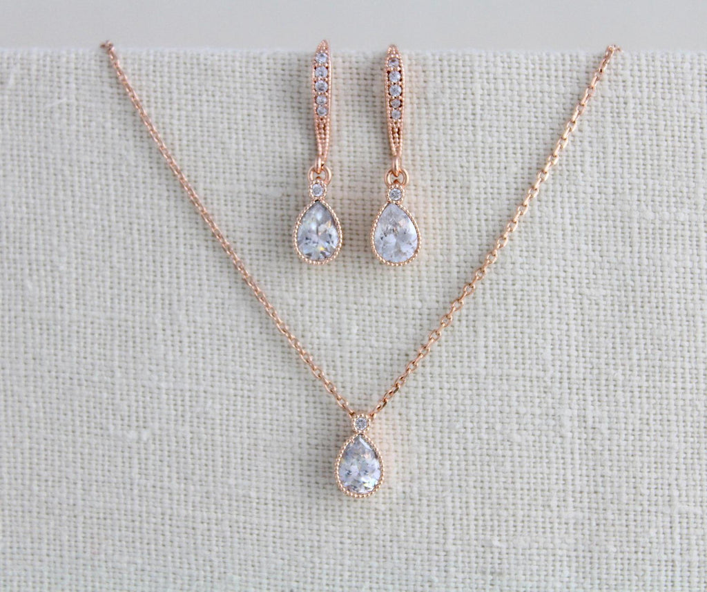 Delicate rose gold Bridal necklace and earring set - KHLOE - Treasures by Agnes