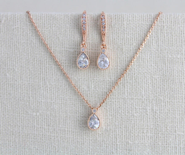 Tiny rose gold Bridal necklace and earring set - Treasures by Agnes