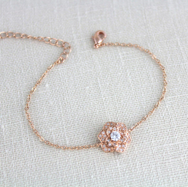 Dainty rose gold flower CZ bridal bracelet - Treasures by Agnes