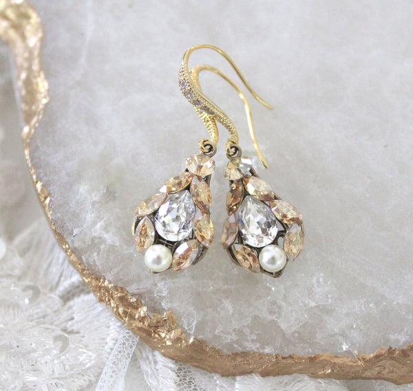 Delicate Swarovski crystal drop Bridal earrings - Treasures by Agnes