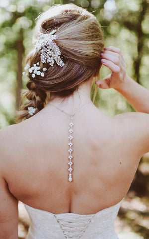 rose gold or silver bridal back necklace - Treasures by Agnes