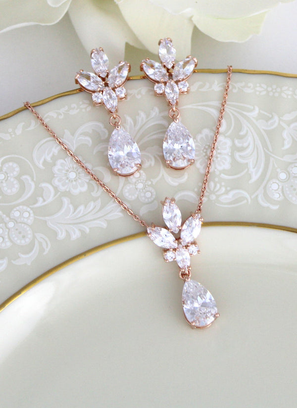 Delicate rose gold crystal drop necklace set - DIVINE - Treasures by Agnes