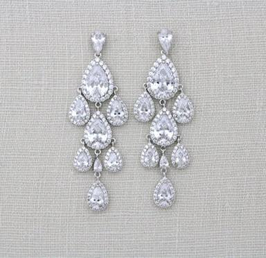 Cubic Zirconia Teardrop Chandelier earrings