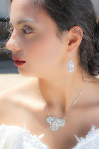 Ivory cream Bridal earrings with opal accents, Swarovski crystal earrings - Treasures by Agnes