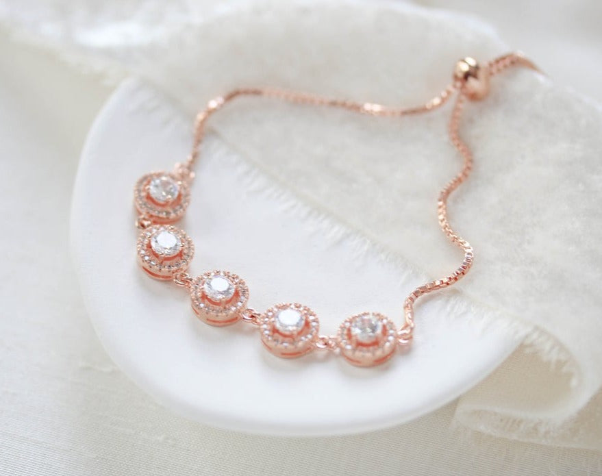 Rose gold CZ Bridal bracelet with adjustable slide - EVERLY - Treasures by Agnes