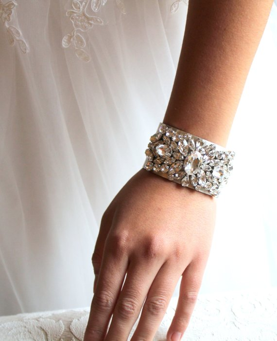 Vintage Antique silver Bridal cuff bracelet with Swarovski crystals - Treasures by Agnes