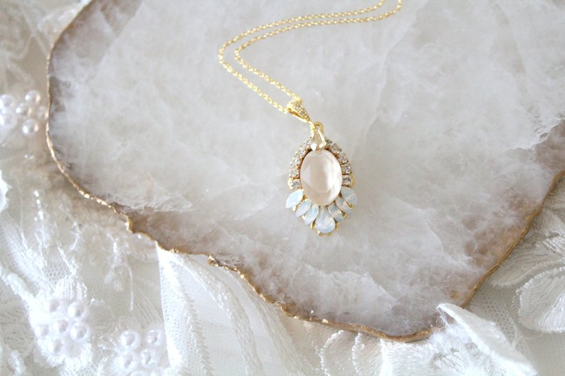 Gold Bridal necklace with Swarovski crystals - TEAGAN - Treasures by Agnes