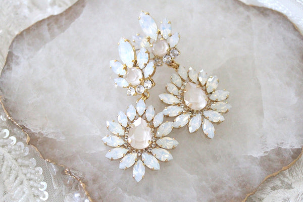 Swarovski white opal and ivory cream bridal chandelier earrings - ADALINE - Treasures by Agnes