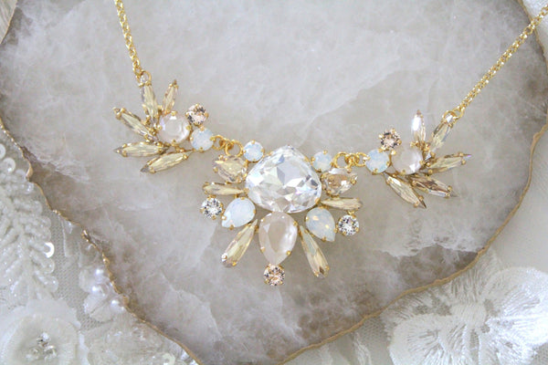 Gold Statement necklace with Swarovski crystals - Treasures by Agnes