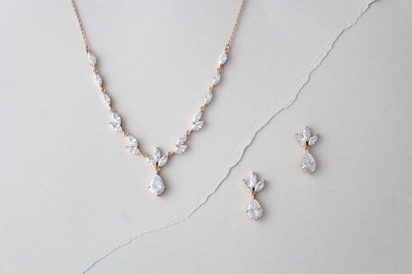 Dainty rose gold CZ bridal necklace and earring set - MARISOL - Treasures by Agnes