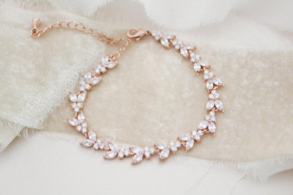 Dainty rose gold cubic zirconia tennis bracelet- ANDREA - Treasures by Agnes