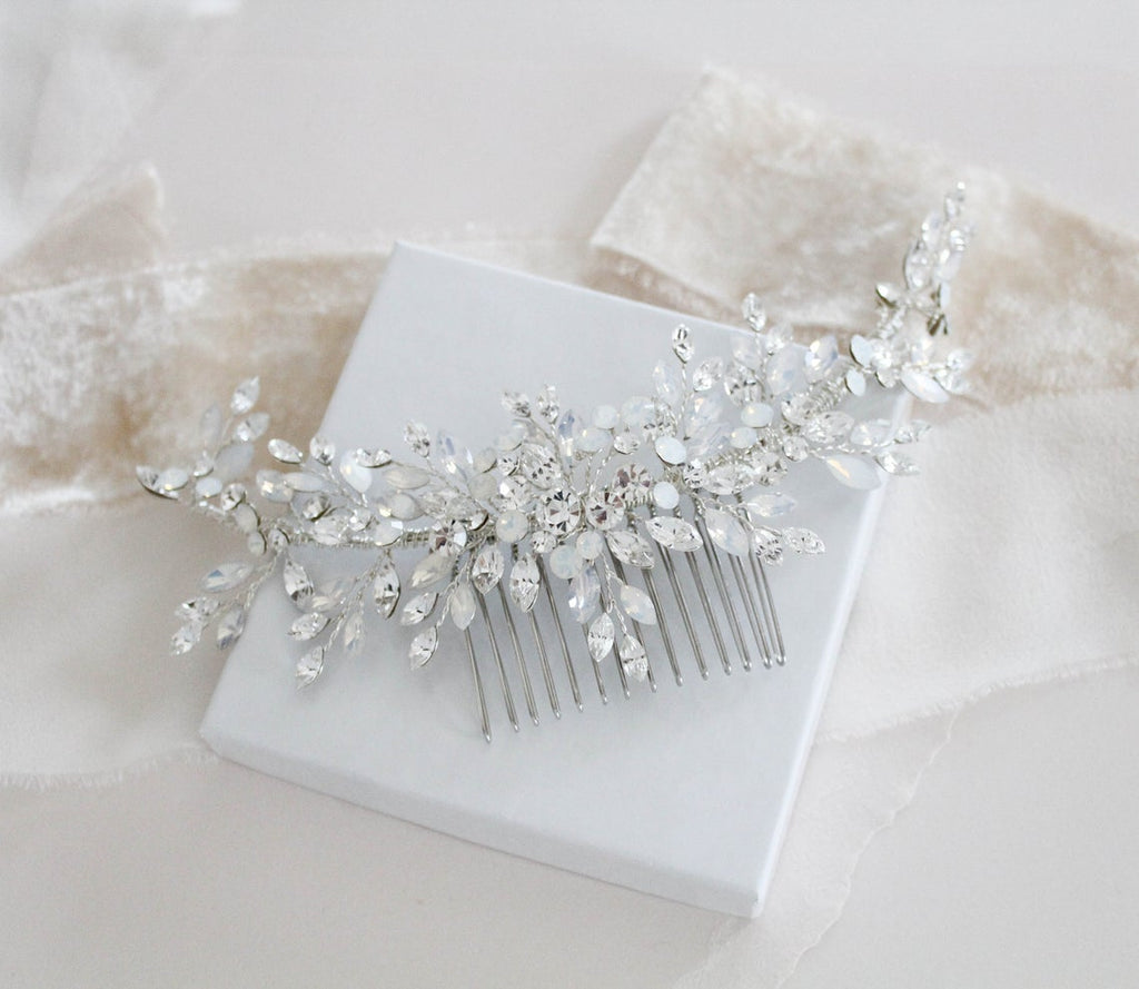 Large silver bridal hair comb layered with Austrian crystals - JADA - Treasures by Agnes