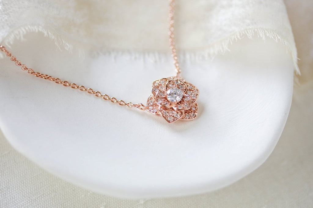 Rose gold CZ floral Bridal necklace - MORGAN - Treasures by Agnes
