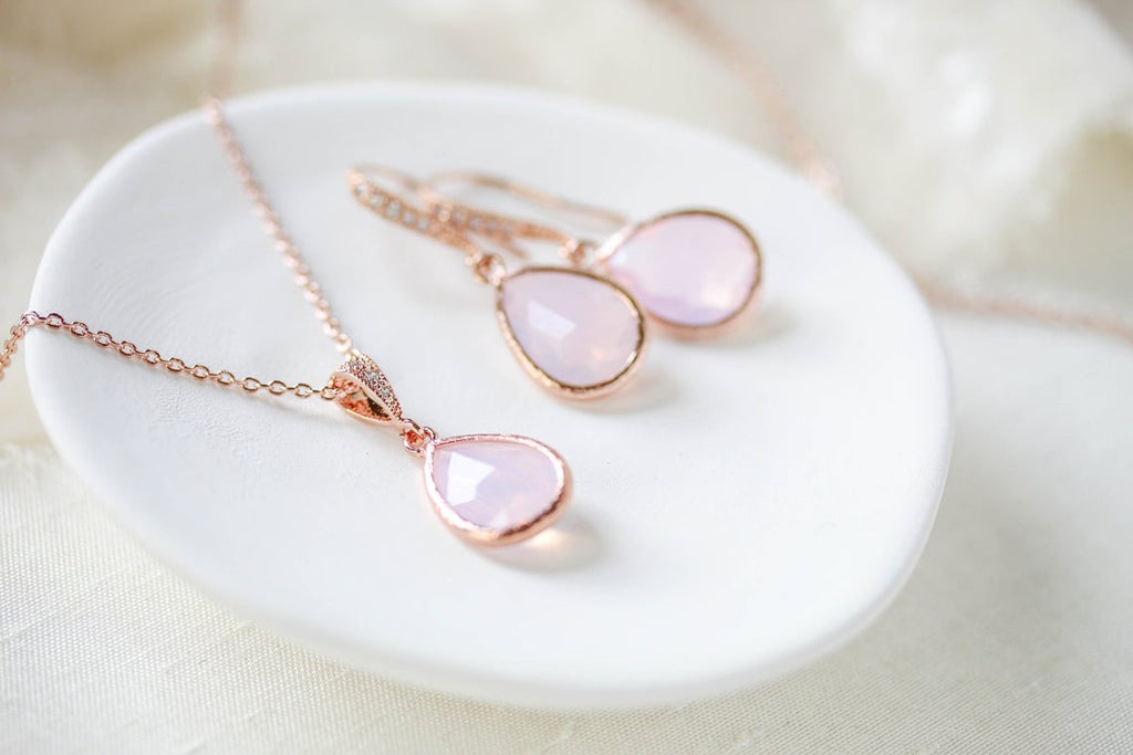 Rose gold backdrop necklace and earrings with pink opal gemstones - DANA - Treasures by Agnes