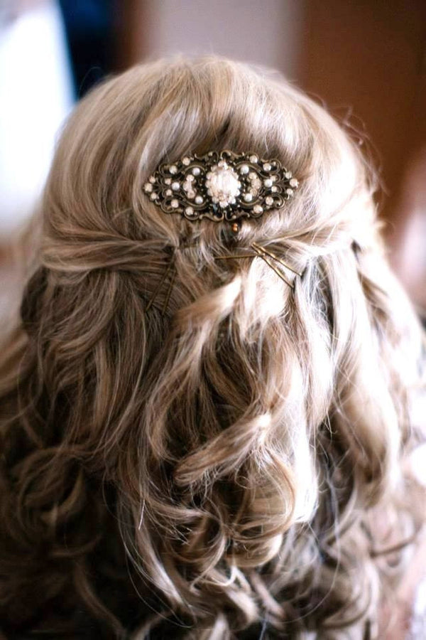 Swarovski Ivory Cream accent Bridal hair comb in antique gold - SHAELYN - Treasures by Agnes