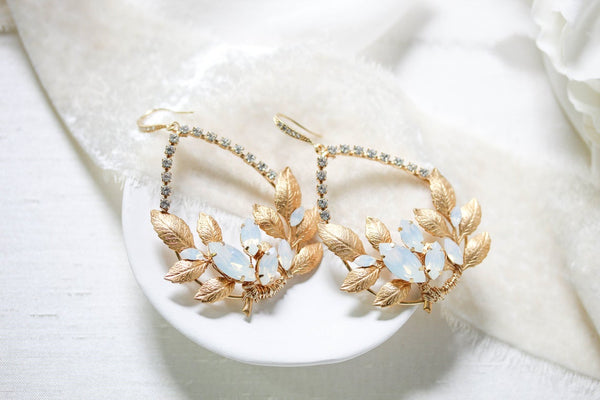 Gold leaf hoop Bridal earrings with Swarovski crystals - GEMMA - Treasures by Agnes
