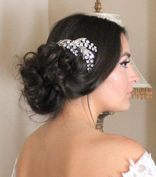 antique silver swarovski crystal floral hair comb