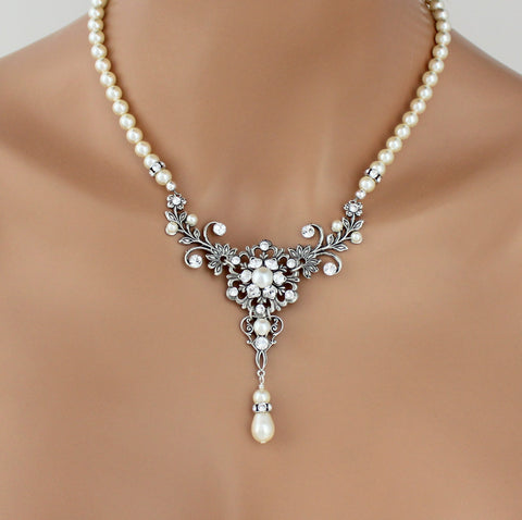 Vintage style antique silver pearl wedding necklace - Treasures by Agnes