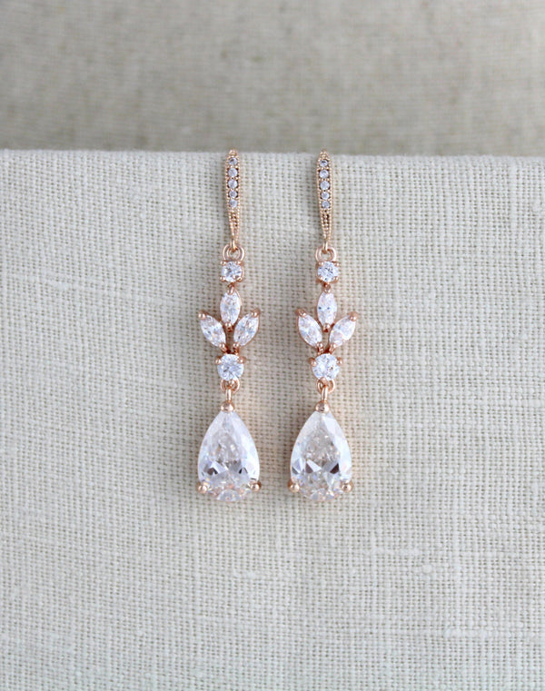 Rose gold CZ bridal earrings - LAUREN - Treasures by Agnes