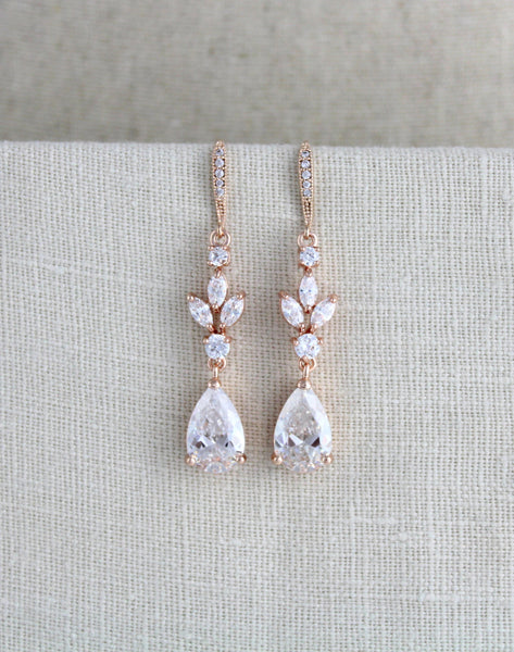Rose gold CZ bridal earrings