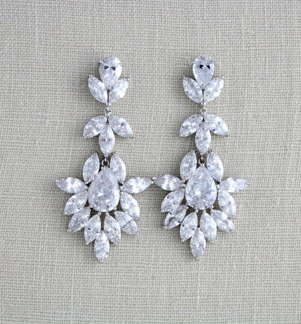 Large bridal chandelier statement earrings Wedding jewelry Cubic zirconia earrings Gift for her - Treasures by Agnes