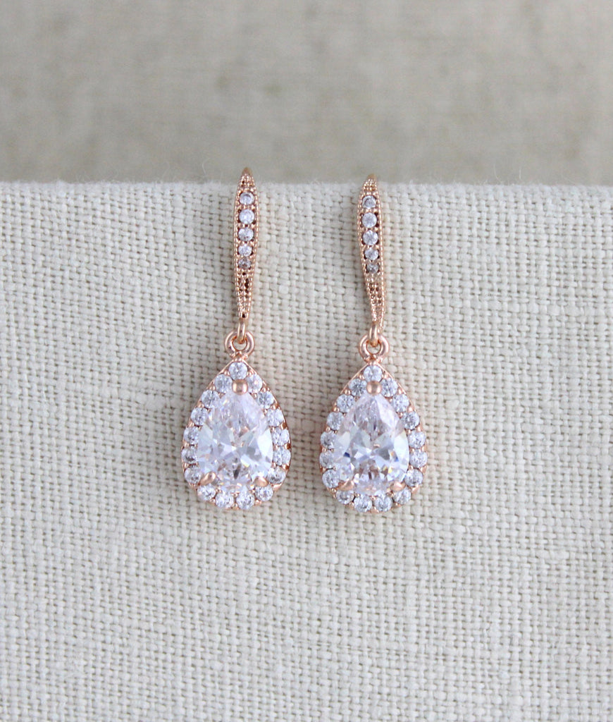 Simple rose gold crystal drop bridal earrings - Treasures by Agnes