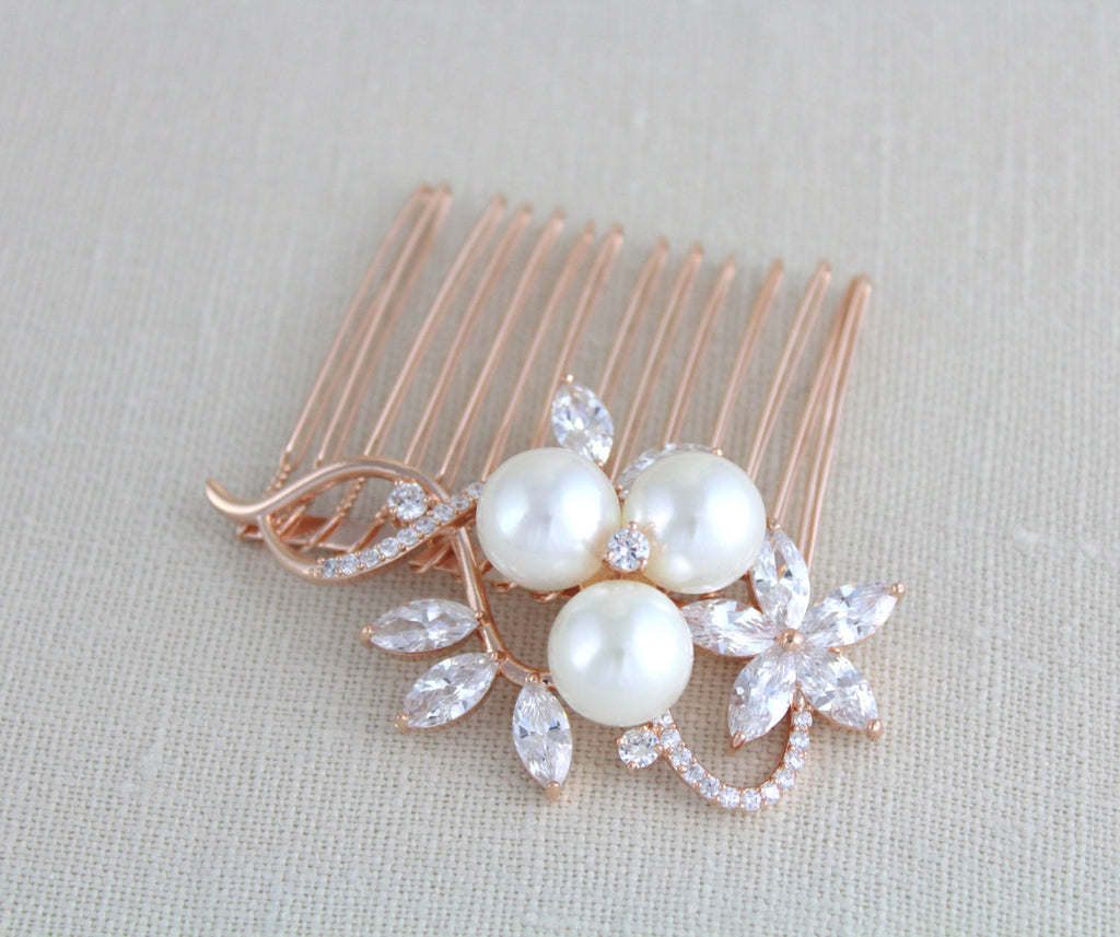 Rose gold Bridal hair comb with pearls MIA - Treasures by Agnes